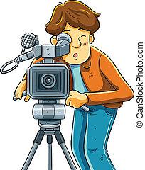 kameraman, filma, den, bio