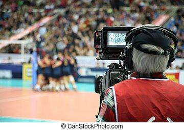 kameraman, på, den, sport, konkurrens