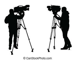 kameraman, silhouettes
