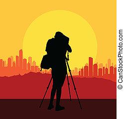 kameraman, silhuett, vektor, bakgrund, filma, stad