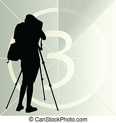 kameraman, silhuett, vektor, bakgrund, och, film,...