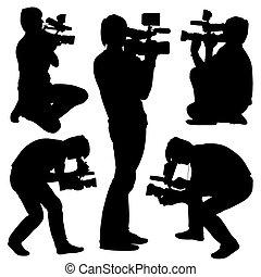 kameramann, illustration., hintergrund., silhouetten, vektor, video, kamera., weißes