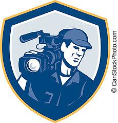 kameramann, schutzschirm, mannschaft, fotoapperat, video, hd, film, retro