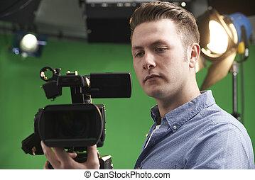 kameramann, studio, fernsehen, arbeitende