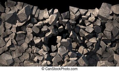 kamień ściana, destoyed, do, dużo, mały, peaces., alfa,...