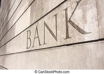 kamień ściana, pisanie, pokrajany, na, bank