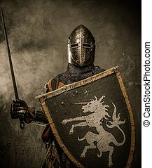 kamień, średniowieczny, ściana, rycerz, przeciw, miecz, tarcza