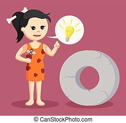 kamień, callout, idea, cavewoman, okrągły