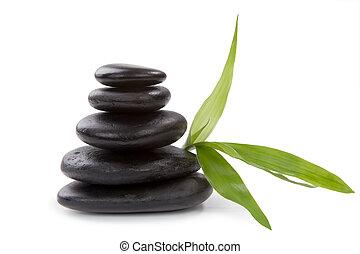 kamień, concept., zen, pebbles., zdrój, troska