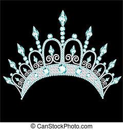 kamień, diadem, lekki, korona, kobiecy, ślub