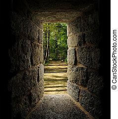 kamień, drzewa, przejście, okno, castle-like, przez,...