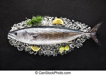 kamień, fish, lód, czarnoskóry, stół, tuńczyk, górny prospekt
