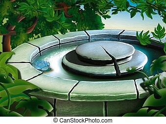 kamień, fontanna