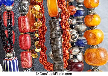 kamień, kasownik, biżuteria, barwny, naszyjniki, tło