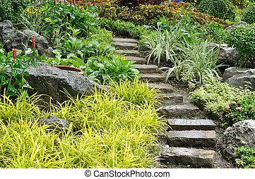 kamień, kasownik, ogród, landscaping, dom, schody