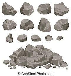 kamień kołyszą, komplet, cartoon.
