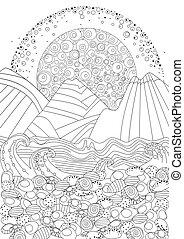 kamień, kolorowanie, motyw morski, twój, plaża, strona, wschód słońca