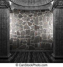 kamień, kolumny, i, ściana