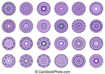 kamień, komplet, barwny, symbol, abstrakcyjny, mandala, okrągły