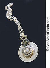 kamień, medalion, łańcuch, srebro