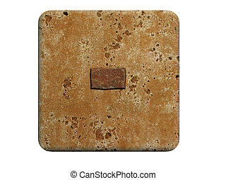 kamień, odizolowany, minus, tło., 3d, biały