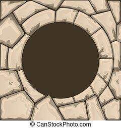 kamień, okrągły, ułożyć