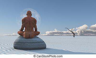 kamień, rozmyśla, piach, biały, człowiek