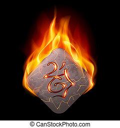 kamień, rune, płonący