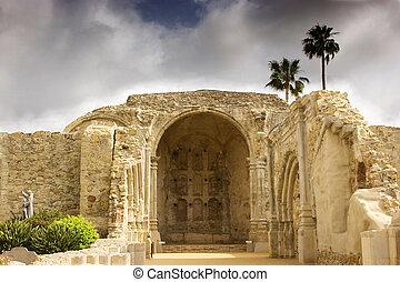 kamień, san, capistrano, huan, misyjny kościół
