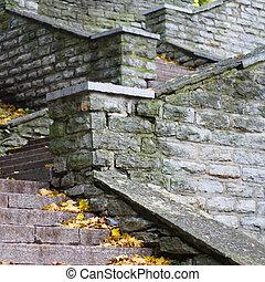 kamień, schody, przewodniczy, do góry, szczelnie-do góry
