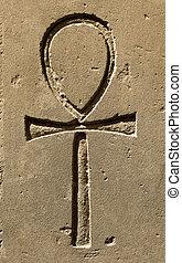 kamień, starożytny egipt, symbol, ankh, pokrajany