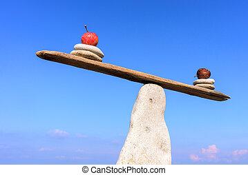 kamień, waga, jabłka