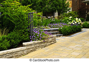 kamień, wybrukowany, podjazd, landscaped, ogród