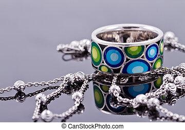 kamienie, łańcuch, srebro, drogocenny, delikatny, ring