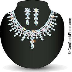 kamienie, ślub, naszyjnik, earrings, drogocenny, kobiety