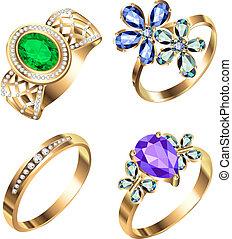kamienie, biały, komplet, drogocenny, ring