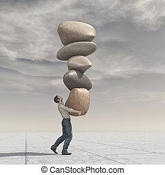 kamienie, do góry, młody, stos, waga, człowiek