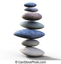 kamienie, doskonały, wyobrażenia, zrównoważony, zdrój, waga