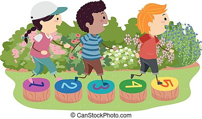 kamienie, dzieciaki, stickman, krocząc, ilustracja