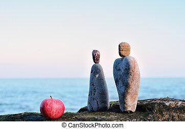 kamienie, jabłko