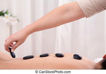 kamienie, kamień, kładzenie, gorący, terapia, siła robocza