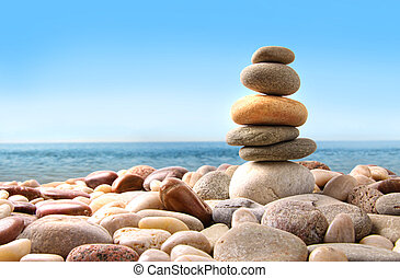 kamienie, kamyk, biały, stóg