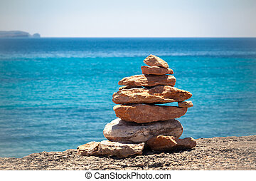 kamienie, kamyki, na, błękitny, waga, morski stóg