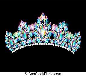 kamienie, korona, ilustracja, drogocenny, błyszcząc, tiara, ...