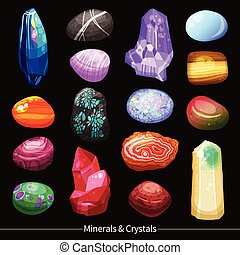 kamienie, kryształy, komplet, tło, trzęsie się