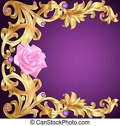 kamienie, kwiat, złoty, rocznik wina, ilustracja, tło ...