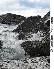 kamienie, o, bryzg, przybrzeżny, fale