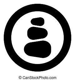 kamienie, płaski, kamień, sztaplowany, wieża, farbować wizerunek, zen, styl, ilustracja, stóg, wektor, czarnoskóry, zdrój, koło, okrągły, ikona