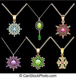 kamienie, sieczka, komplet, Biżuteria, złoty, kolor, rocznik...