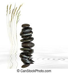 kamienie, trawa, zdrój, kasownik